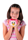 Smiled young girl with his favorite plush toy poster