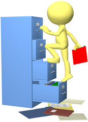 Office worker files folder in 3D filing cabinet