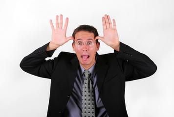 Business men mock with his finger