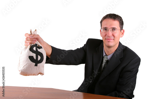 Happy business man show proudly his money bag