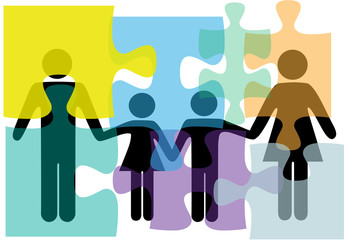 Family people health services problem solution puzzle