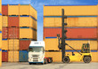 forklift and truck with shipping containers