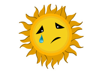 Crying Sun Cartoon Character Illustration in Vector