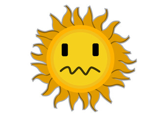 Sad Sun Cartoon Character Illustration in Vector