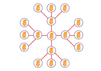 Network Hierrahical in Computer Distribution Illustration in Vec