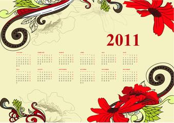 Vintage calendar for 2011