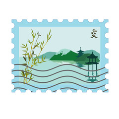 vector postage stamp with japanese picture