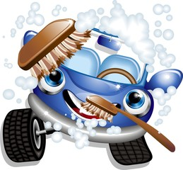 Auto Lavaggio Cartoon-Car Wash-Vector