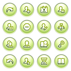 Users web icons on gray buttons.