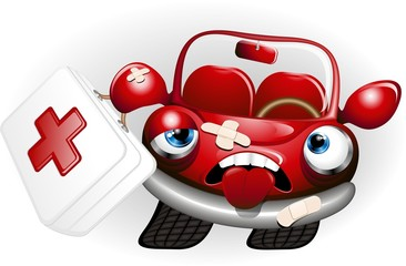 Automobile Cartoon Pronto Soccorso-Sick Car-Vector