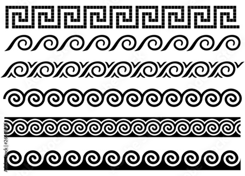 Meander and wave. Ancient Greek ornament. - 26448555