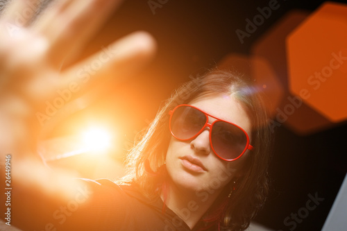 Young woman playing vip rockstar personality