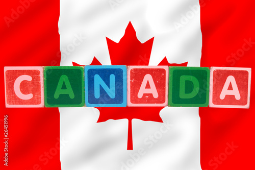 canada and flag in toy block letters