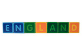 england in toy block letters