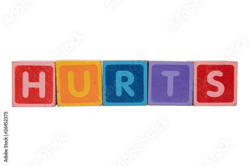 hurts in toy blocks letters
