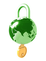 Planet the earth as a lock with a key in it