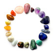 Leinwandbild Motiv Semiprecious gemstones - round color spectrum