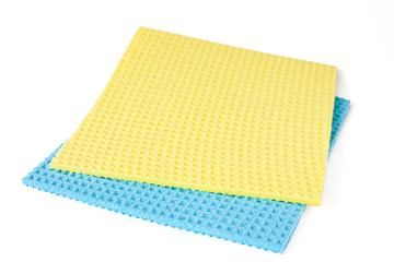 blue and yellow rag on white background