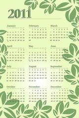 2011 Calendar with leaves