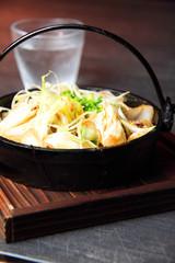 鶏鍋と日本酒