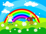 Cheerful boy stands on a rainbow