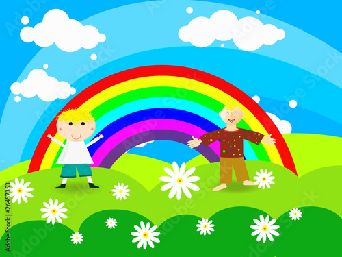 Fotobehang Regenboog Cheerful boy stands on a rainbow