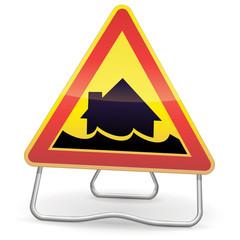Panneau de danger temporaire inondation (ombre)