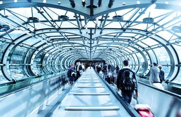 Passengers entering / leaving airport terminal