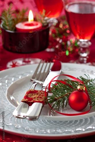 Papiers peints Table preparee table setting at christmas