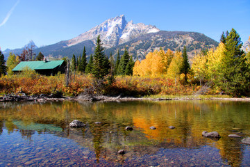 Scenic autumn landscape in Grand Tetons national park