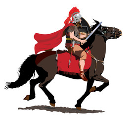 Roman soldier on horseback charges with sword drawn.
