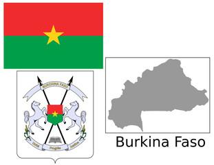 Burkina Faso flag national emblem map