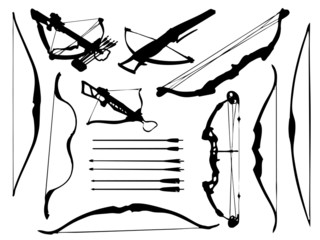 Weapon collection, bow, crossbow and arrows