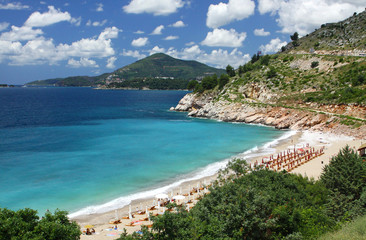 Summer view of Adriatic seacoast near Becici, Montenegro