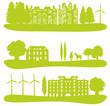 ville, foret et nature verte avec éoliennes # SP6463