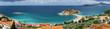 Leinwanddruck Bild - Panoramic view of Sveti Stefan island, Adriatic sea, Montenegro