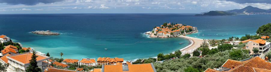 Panoramic view of Sveti Stefan island, Adriatic sea, Montenegro