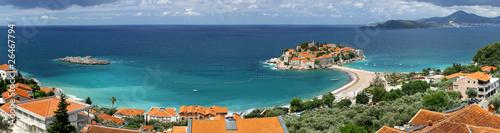 Leinwanddruck Bild Panoramic view of Sveti Stefan island, Adriatic sea, Montenegro