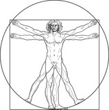 Fototapety 'Homo vitruviano'. So-called The Vitruvian man a.k.a. Leonardo's man. Detailed drawing on the basis of artwork by Leonardo da Vinci by ancient manuscript of Roman master Marcus Vitruvius Pollio.