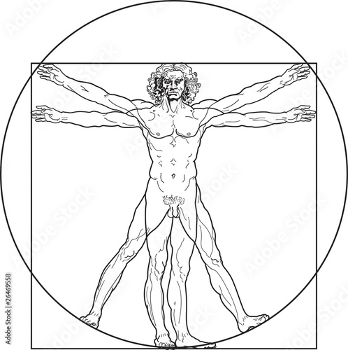 'Homo vitruviano'. So-called The Vitruvian man a.k.a. Leonardo's man. Detailed drawing on the basis of artwork by Leonardo da Vinci by ancient manuscript of Roman master Marcus Vitruvius Pollio.