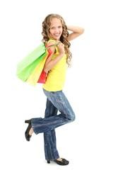 beautiful teenage girl with shopping bags