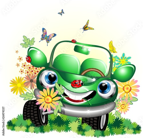 Auto Verde Ecologica Cartoon-Ecological Green Car-Vector