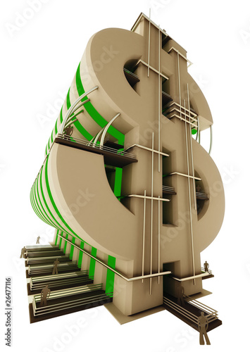 Buildings in the form of a dollar sign isolated on white