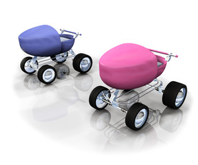 Baby carriage racing stroller 3D