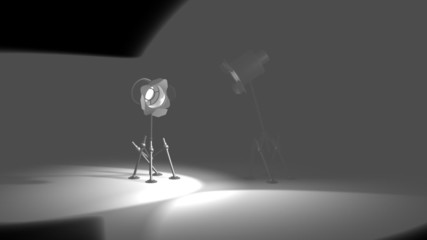 Two ridiculous spotlights isolated on Black 3d render