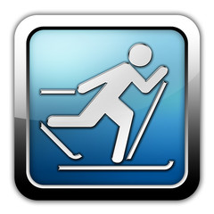 """Glossy Square Icon """"Cross-Country Skiing"""""""
