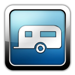 """Glossy Square Icon """"Camping Trailer"""""""