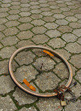remains of a bike theft with wheel and lock poster