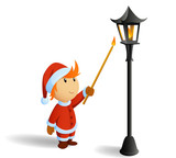 Little christmas santa firestarting lamppost