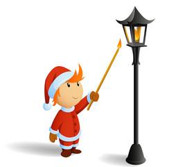 Little christmas santa firestarting lamppost